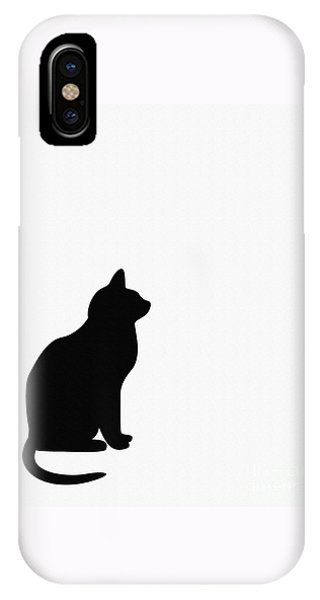 Black Cat Silhouette On A White Background IPhone Case