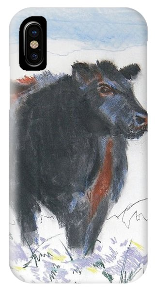 Black Cow Drawing IPhone Case