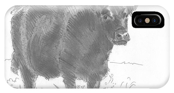Black Cow Pencil Sketch IPhone Case