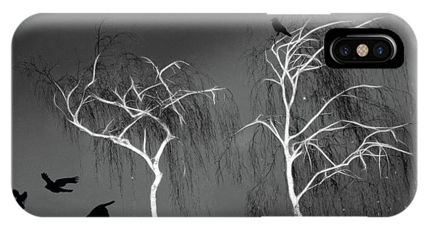 Black Crows - White Trees  IPhone Case