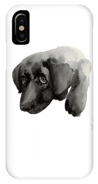 Black Dog Labrador Gold Golden Retriever Eye Portrait Animal Animals Pet Pets Watercolor Painting IPhone Case
