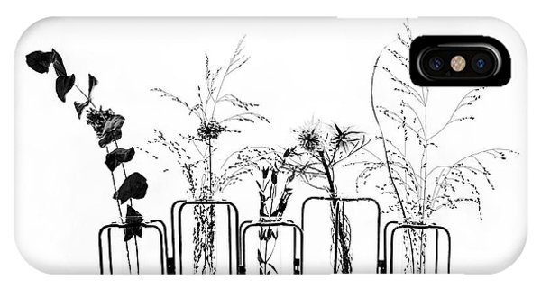 Black Flowers On White Background Phone Case by #name?