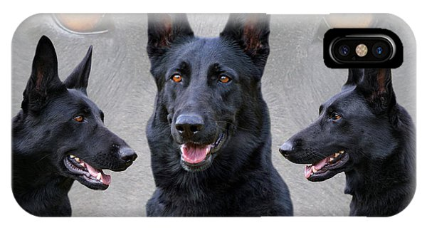 Black German Shepherd Dog Collage IPhone Case