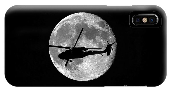 Helicopter iPhone X Case - Black Hawk Moon by Al Powell Photography USA