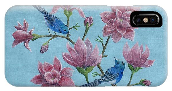 Black Naped Blue Flycatchers In Magnolias IPhone Case
