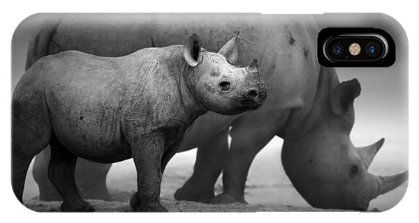 Black Rhinoceros Baby And Cow IPhone Case