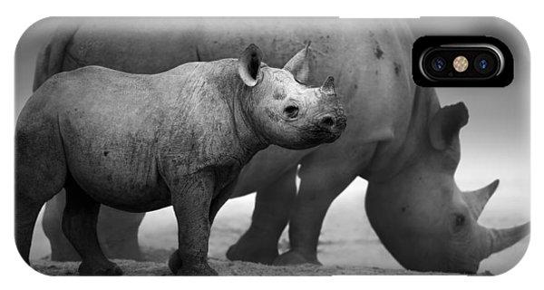 Monotone iPhone Case - Black Rhinoceros Baby And Cow by Johan Swanepoel
