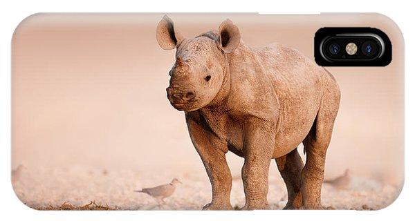 Mammal iPhone Case - Black Rhinoceros Baby by Johan Swanepoel