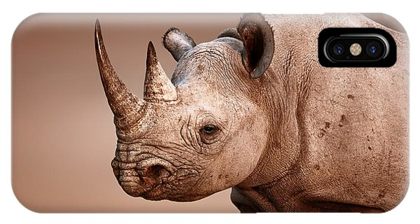 Head And Shoulders iPhone Case - Black Rhinoceros Portrait by Johan Swanepoel