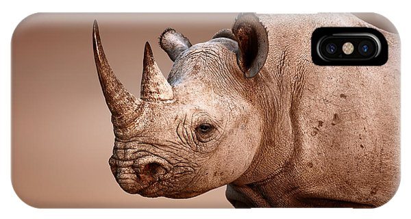 Black Rhinoceros Portrait IPhone Case