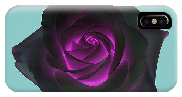 Black Rose With Purple Centre On Pale Turquoise Background. Phone Case by Rosemary Calvert