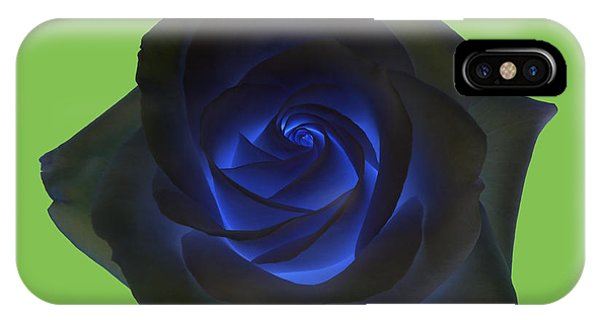 Black Rose With Vibrant Blue Petals At Centre On Green Phone Case by Rosemary Calvert