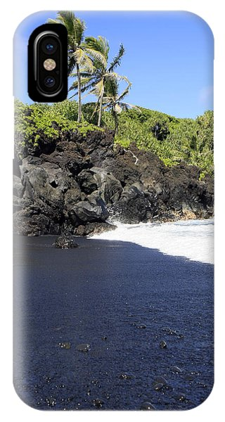 Black Sand Beach 1 IPhone Case