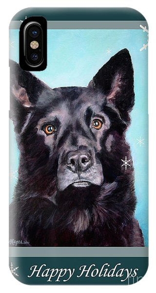 Black Shepard Mix Portrait Holiday IPhone Case