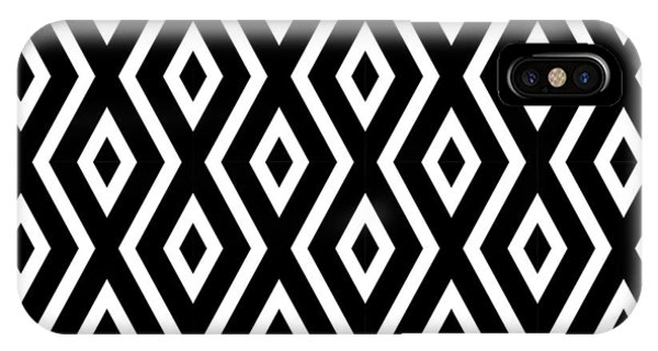 Diamond iPhone Case - Black And White Pattern by Christina Rollo