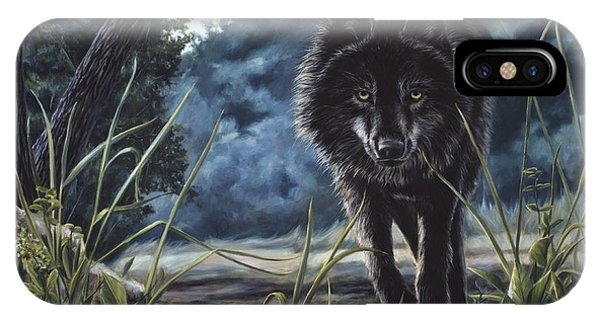 Hunting iPhone Case - Black Wolf Hunting by Lucie Bilodeau