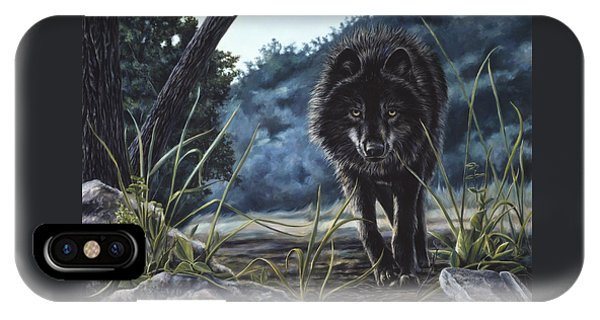 Black Wolf Hunting IPhone Case