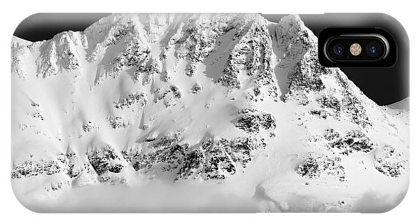 IPhone Case featuring the photograph Blackcomb Above The Clouds In Black And White by Pierre Leclerc Photography