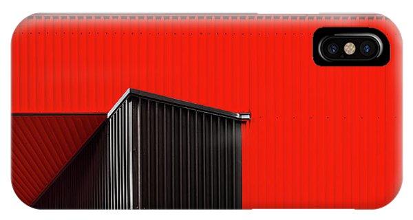 Angle iPhone X Case - Black/red. by Harry Verschelden
