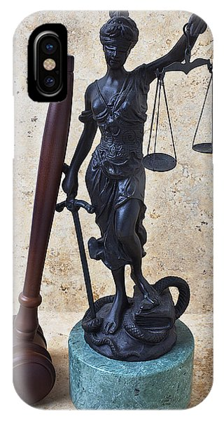 Fairness iPhone Case - Blind Justice Statue With Gavel by Garry Gay