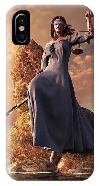Blind Justice With Scales And Sword IPhone Case