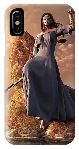 IPhone Case featuring the digital art Blind Justice With Scales And Sword by Daniel Eskridge