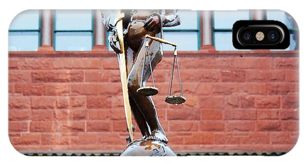 Fairness iPhone Case - Blind Naked Justice Statue Bexar County Courthouse San Antonio Texas Square Format by Shawn O'Brien