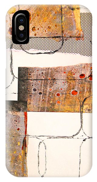Texture iPhone Case - Blocks Abstract Mixed Media Collage by Nancy Merkle