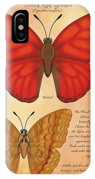 Blood Red Glider Butterfly Phone Case by Tammy Yee