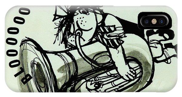 Trombone iPhone X Case - Blooooob! Ink On Paper by Brenda Brin Booker
