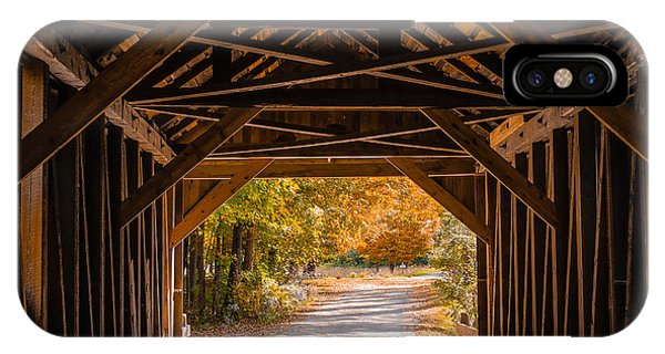 New England Fall Foliage iPhone Case - Blow-me-down Covered Bridge Cornish New Hampshire by Edward Fielding