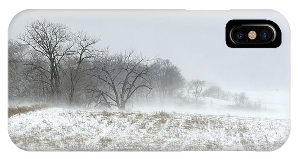 Blowing Snow Over Fields And Forest IPhone Case