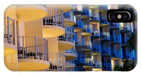 Blue And White Hotel Balcony Abstract. IPhone Case