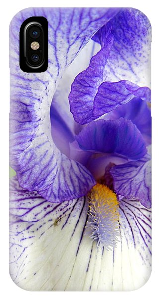 Blue And White Iris Closeup Phone Case by Virginia Forbes