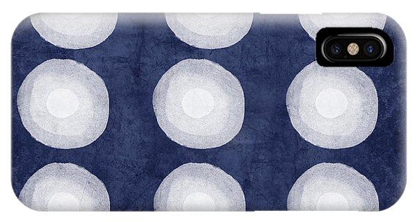 Tribal iPhone Case - Blue And White Shibori Balls by Linda Woods