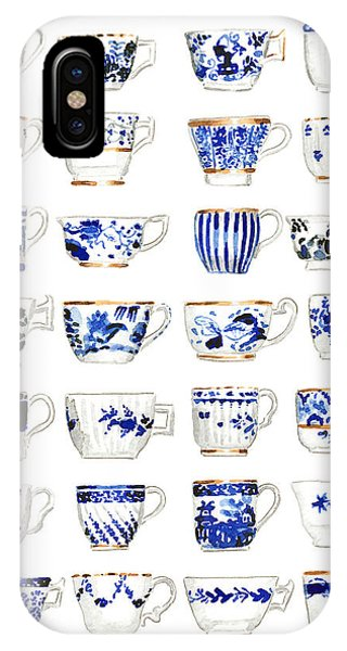 Cobalt Blue iPhone Case - Blue And White Teacups Collage by Laura Row Studio