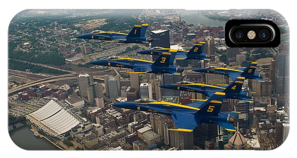 IPhone Case featuring the photograph Blue Angels Over Pittsburg by JC Findley