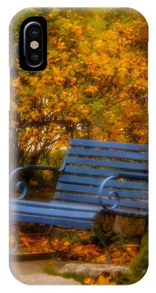 Blue Bench - Autumn - Deer Isle - Maine IPhone Case