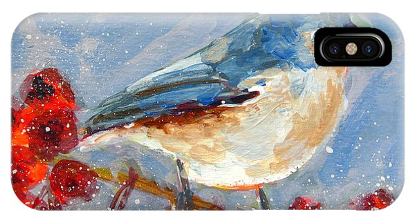 Blue Bird In Winter - Tuft Titmouse Modern Impressionist Art IPhone Case
