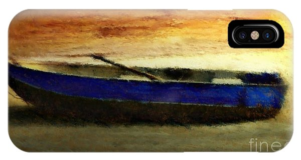 IPhone Case featuring the painting Blue Boat At Sunset by Sandra Bauser Digital Art