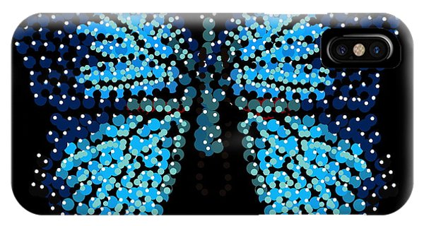 Blue Butterfly Black Background IPhone Case