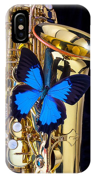 Blue Butterfly On Sax IPhone Case