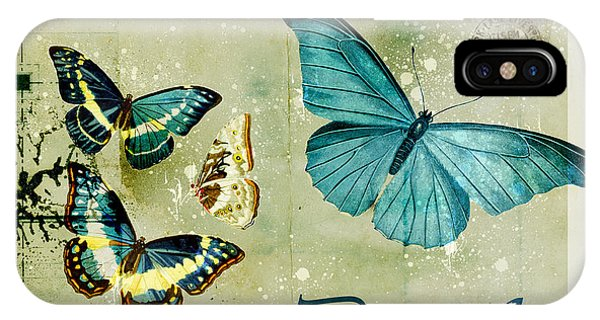 Insect iPhone Case - Blue Butterfly - S55c01 by Variance Collections