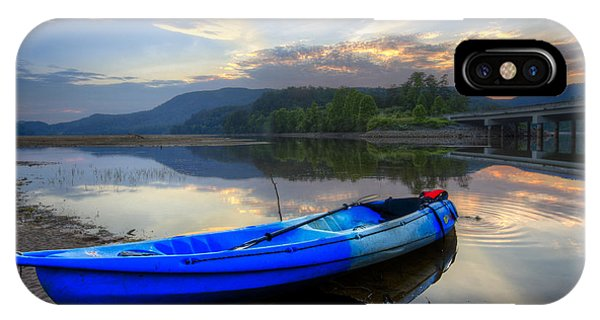 Chilhowee iPhone Case - Blue Canoe At Sunset by Debra and Dave Vanderlaan