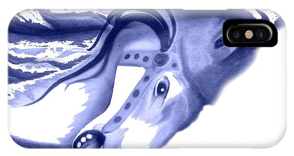 Blue Carrousel Horse IPhone Case