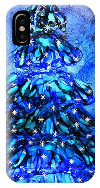 Blue Christmas Tree Alcohol Inks  IPhone Case