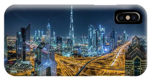 Futuristic iPhone Case - Blue City by Khalid Jamal