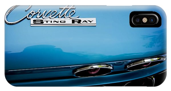 Blue Corvette Sting Ray Rear Emblem IPhone Case