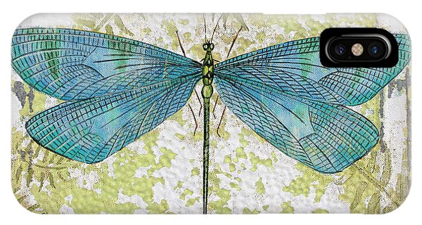Blue Dragonfly On Vintage Tin IPhone Case