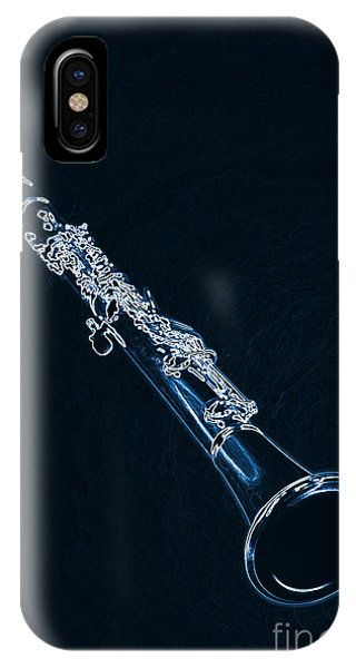 Blue Drawing Of A Clarinet Music Instrument 3011.06 IPhone Case